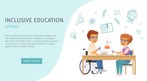 Banner de dibujos animados de educación inclusiva de inclusión con título de la escuela y botón azul leer más