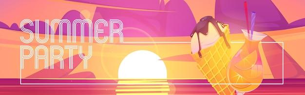 Banner de dibujos animados de fiesta de verano con cono de helado y cóctel al atardecer