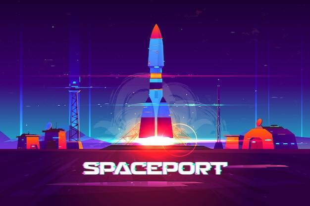 Banner de dibujos animados del futuro puerto espacial extraterrestre.