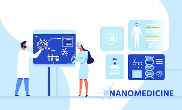 Banner de dibujos animados de investigación de infografía nanomedicina