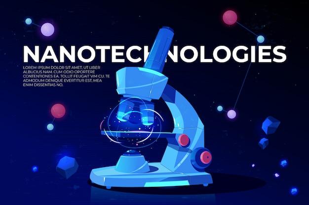 Banner de dibujos animados de investigación de nanotecnologías