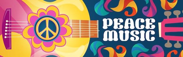Banner de dibujos animados de música hippie con guitarra acústica y símbolo de paz