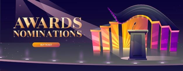 Banner de dibujos animados de nominaciones de premios con tribuna