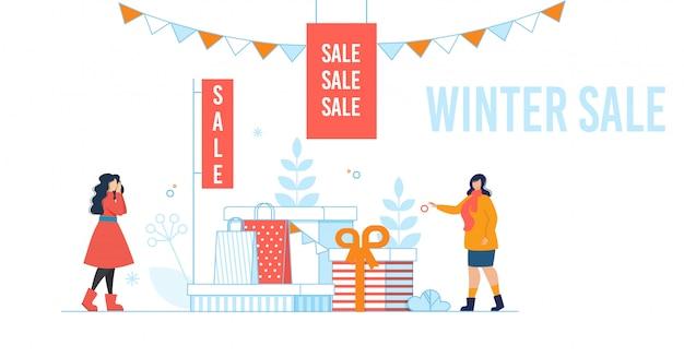 Banner de dibujos animados con oferta de venta de invierno en estilo plano