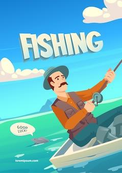 Banner de dibujos animados de pesca con personaje en un barco