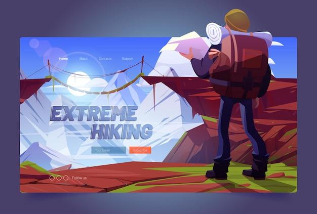 Banner de dibujos animados de senderismo extremo. hombre viajero con mapa en las montañas mirando el puente colgante sobre picos altos