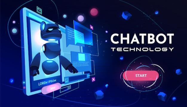 Banner de dibujos animados de servicio de tecnología chatbot