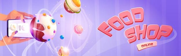 Banner de dibujos animados de tienda de alimentos