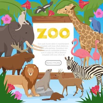Banner de dibujos animados de zoológico