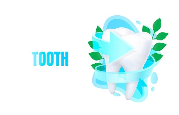 Banner de diente médico, tratamiento alternativo, órgano de anatomía de biología, ayuda de servicio.