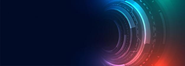 Banner digital futurista de tecnología con elemento hud