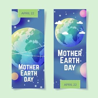 Banner de diseño acuarela día de la madre tierra