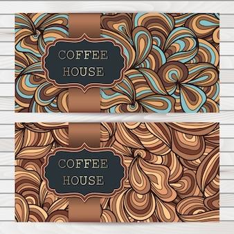Banner con diseño de casa de café