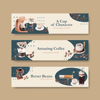 Banner con diseño de concepto del día internacional del café para publicidad y marketing de acuarela
