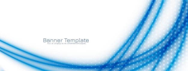 Banner de diseño de onda azul abstracto