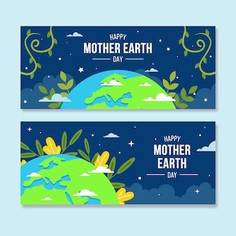 Banner de diseño plano día de la madre tierra con hojas y nubes