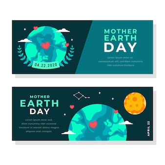 Banner de diseño plano día de la madre tierra con sol