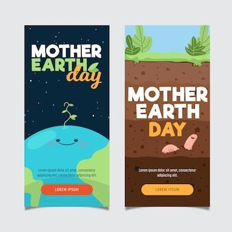 Banner de diseño plano día de la madre tierra