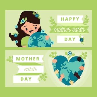 Banner de diseño plano madre tierra día con mujer