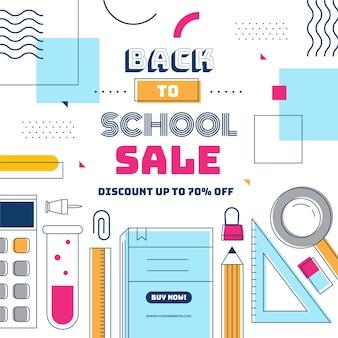 Banner de diseño plano de regreso a la escuela de ventas