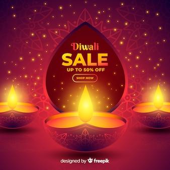 Banner de diseño plano de venta de diwali