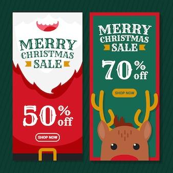 Banner de diseño plano de venta de navidad