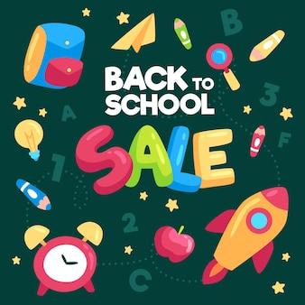 Banner de diseño plano de venta de regreso a la escuela