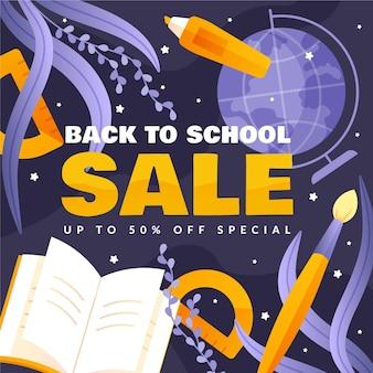 Banner de diseño plano de ventas de regreso a la escuela
