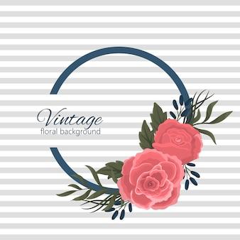 Banner de diseño con rosas rojas y flores azules