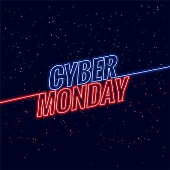 Banner de diseño de texto de neón estilo ciber lunes