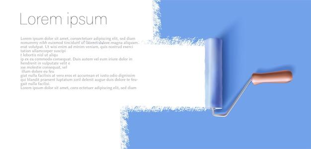 Banner de diseño vectorial con regla de pintura azul y espacio para copiar el texto