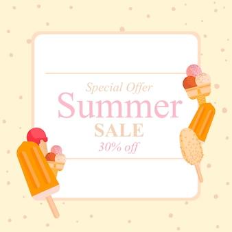 Banner de diseño de venta de verano con helado ilustración de fondo de comida abstracta de verano