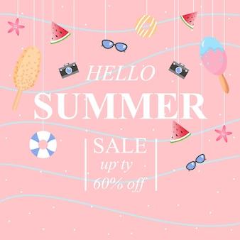 Banner de diseño de venta de verano ilustración abstracta de verano