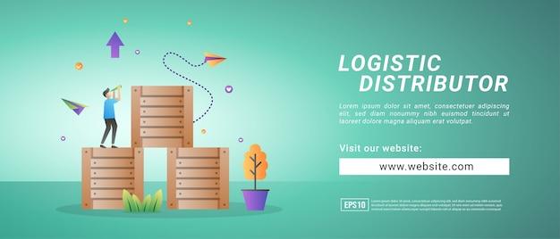 Banner de distribución logística, recepción de mercancías, transporte y servicios de almacenamiento. banners para medios promocionales