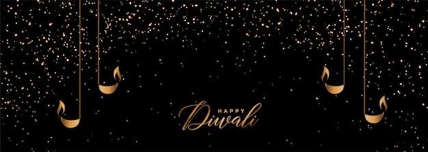 Banner de diwali feliz negro y dorado