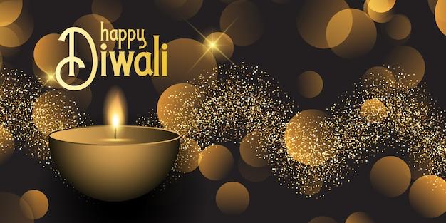Banner de diwali con luces bokeh y diseño de purpurina