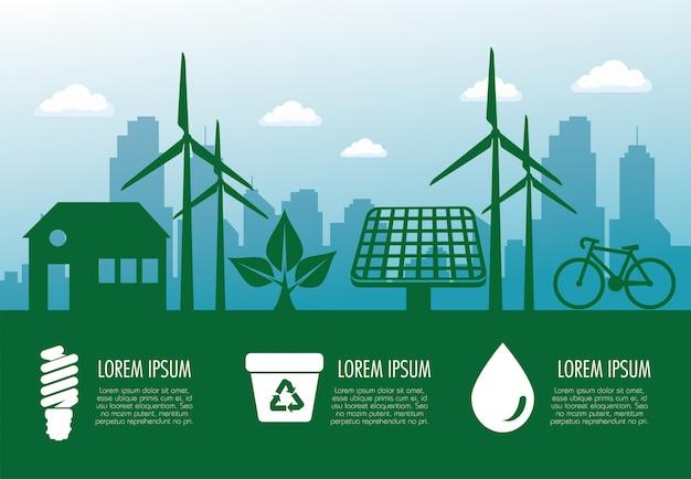 Banner de ecología con energía eólica y solar sostenible