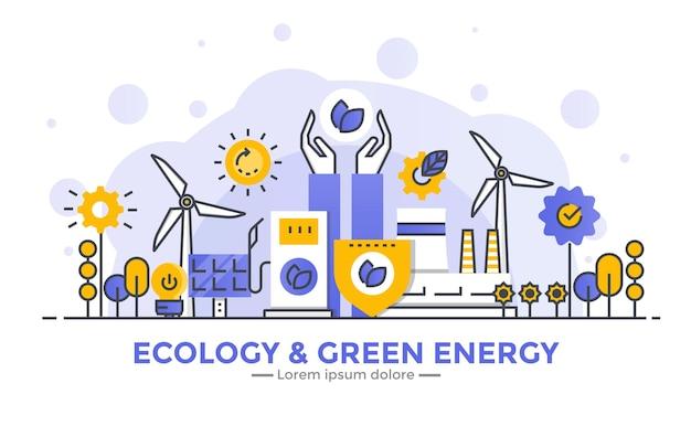 Banner de ecología y energía verde.