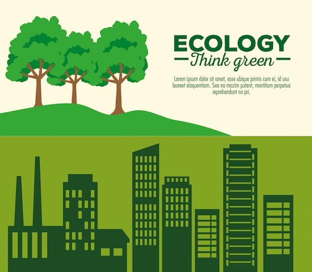 Banner con ecología sostenible y protección del medio ambiente.