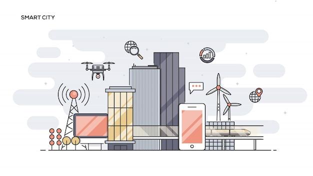 Banner de ed de línea de ciudad inteligente