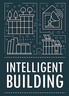 Banner de edificio inteligente moderno, estilo de contorno