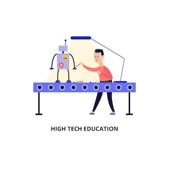 Banner de educación de alta tecnología con personaje de dibujos animados infantil creando robot, ilustración sobre fondo blanco. tecnología de educación infantil moderna.