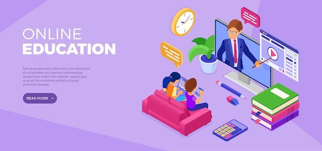 Banner de educación a distancia en línea