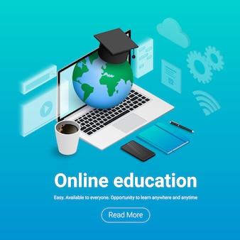 Banner de educación en línea. e-learning ilustración concepto isométrico. laptop con pantalla transparente, planeta y gorra de graduación en su interior, notebook, teléfono, café, documentos, bolígrafo, texto, botón