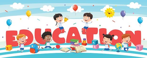 Banner de educación con pequeños estudiantes
