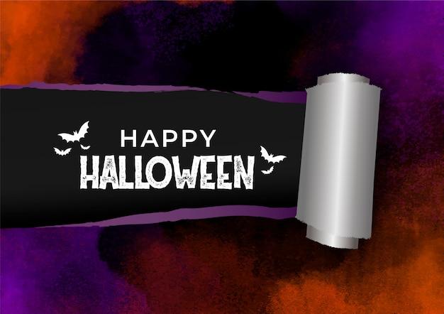 Banner de efecto de papel de acuarela rasgado para halloween