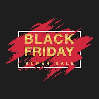 Banner de efecto de pincel pintado de viernes negro