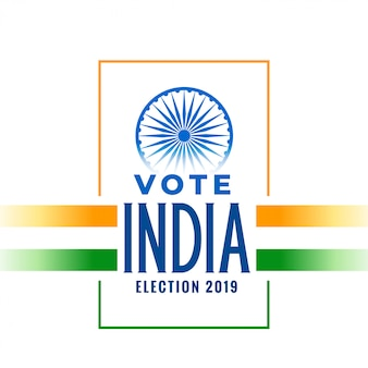 Banner de elecciones 2019 con bandera tricolor india