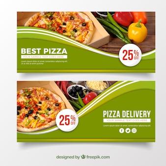 Banner elegante de pizza