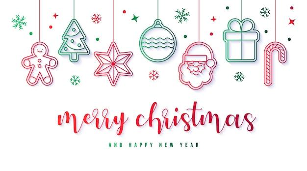Banner elegante con decoración navideña